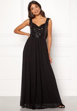 Flirtig svart maxiklänning från Goddiva med dragkedja.