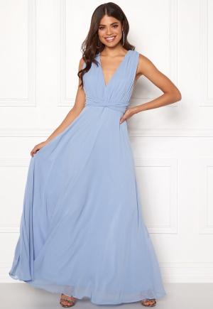 Elegant blå klänning med dragkedja från Goddiva med dragkedja.