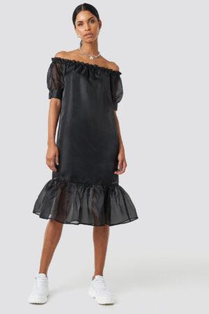 Anna Nooshin x NA-KD Off Shoulder Puffy Mid Flounce Dress - Black