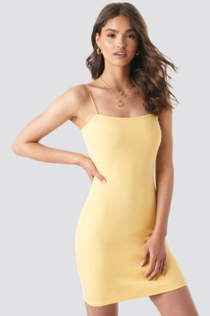 Camille Botten x NA-KD Basic Bodycon Dress - Yellow