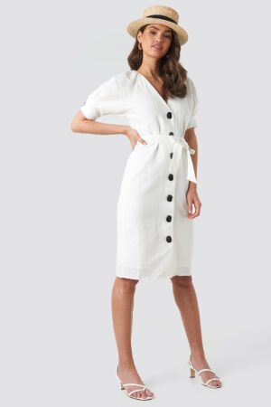 NA-KD Classic Linen Blend Buttoned Dress - White