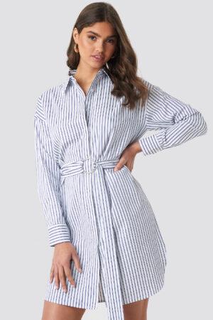 NA-KD Classic O-ring Striped Shirt Dress - Blue