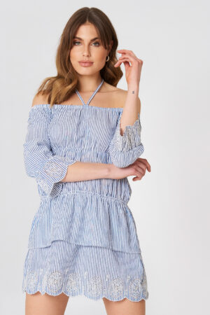 Debiflue x NA-KD Off Shoulder String Dress - Blue