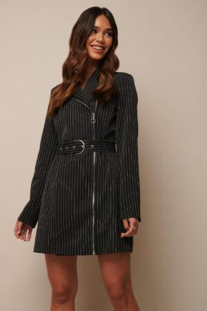 Donnaromina x NA-KD Pinstriped Zip Detail Blazer Dress - Multicolor