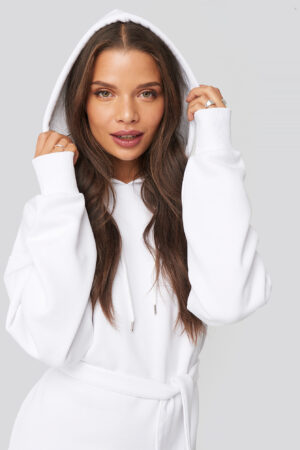 Donnaromina x NA-KD Belted Hoodie Dress - White