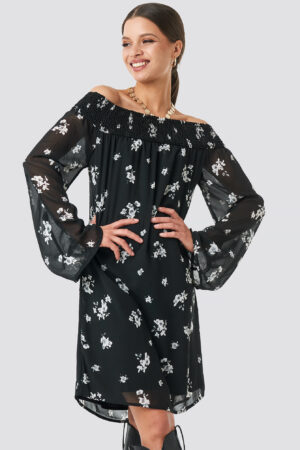 NA-KD Trend Floral Printed Off shoulder Dress - Black