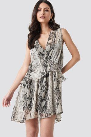 NA-KD Trend Snake printed Short Chiffon Dress - Grey