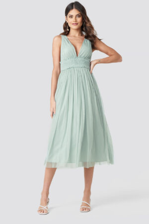 NA-KD Party V-neck Tulle Midi Dress - Green