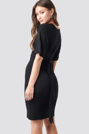 NA-KD Wrapped Detail Jersey Dress - Black