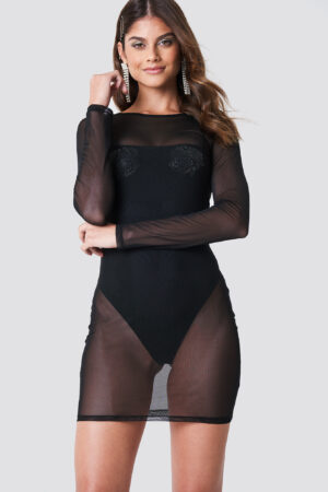 Galore x NA-KD Rhinestone Rose Mesh Dress - Black
