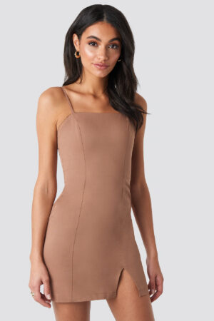 Hoss x NA-KD Fitted Mini Dress - Beige