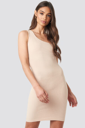 Iva Nikolina x NA-KD One Shoulder Mini dress - Beige