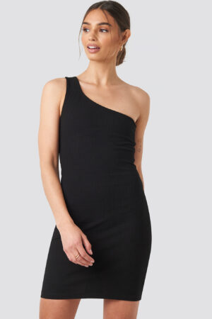 Iva Nikolina x NA-KD One Shoulder Mini dress - Black