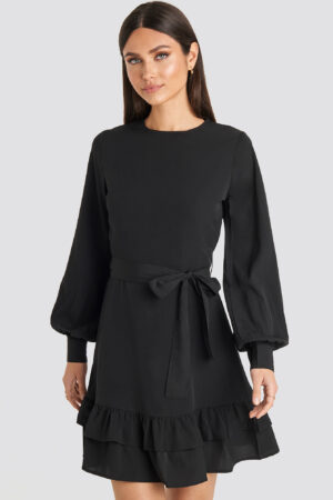 Karo Kauer x NA-KD Balloon Sleeve Mini Dress - Black
