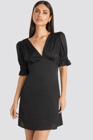 Karo Kauer x NA-KD Puff Mini Dress - Black