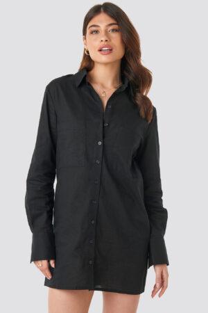 Linn Ahlborg x NA-KD Oversized Shirt Dress - Black