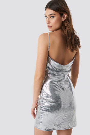 Linn Ahlborg x NA-KD Waterfall Back Dress - Silver