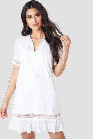 Luisa Lion x NA-KD A-line Crochet Dress - White