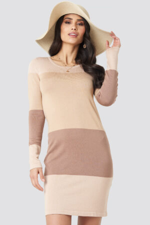 Luisa Lion x NA-KD Light Knit Blocked Dress - Beige