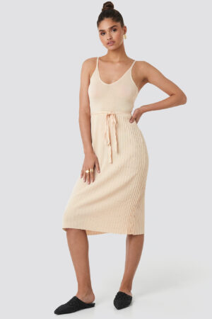 MANGO Baleries Dress - Beige