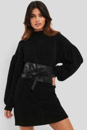 MANGO Ribbad Miniklänning - Black