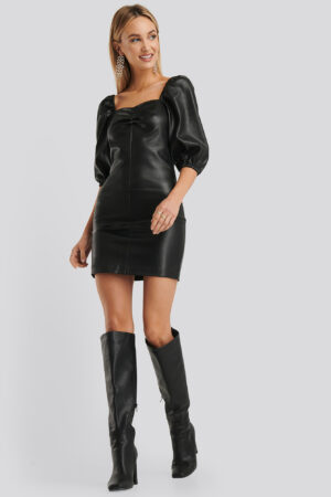 MANGO Mamita PU Dress - Black