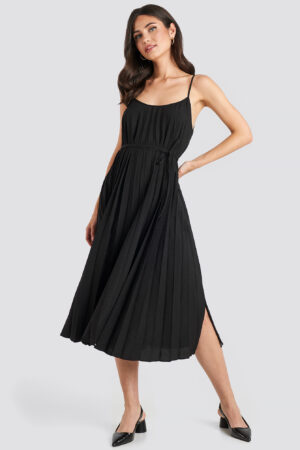 MANGO Plisado Dress - Black