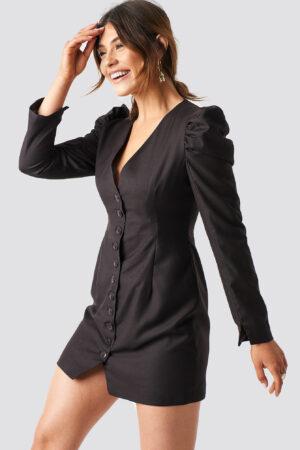 Milena Karl x NA-KD Puff Mini Blazer Dress - Brown