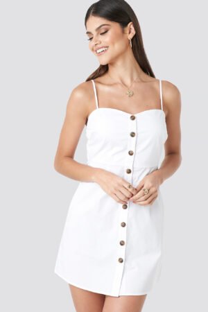 Milena Karl x NA-KD Strap Mini Cotton Dress - White