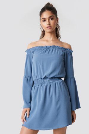 NA-KD Boho Wide Sleeve Off Shoulder Dress - Blue