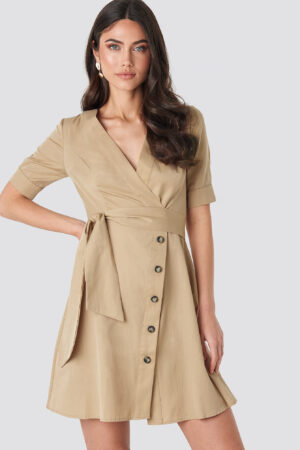 NA-KD Boho Asymmetric Buttoned Mini Dress - Beige