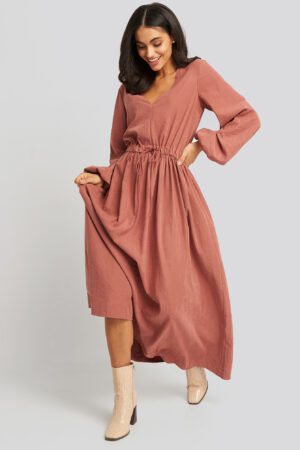 NA-KD Trend Ballon Sleeve V Front Dress - Pink