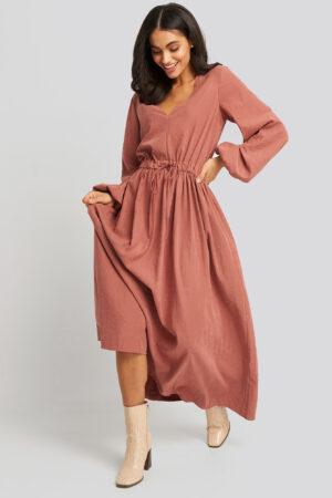 NA-KD Trend Ballon Sleeve V Front Dress - Pink