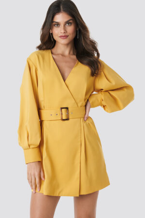 NA-KD Classic Balloon Sleeve Belted Blazer Dress - Yellow
