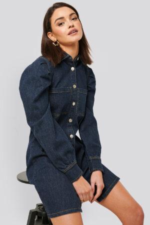 NA-KD Trend Miniklänning Med Ballongärmar - Blue