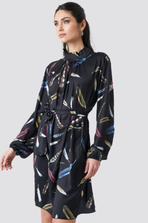 NA-KD Balloon Sleeve Tied Waist Printed Dress - Black
