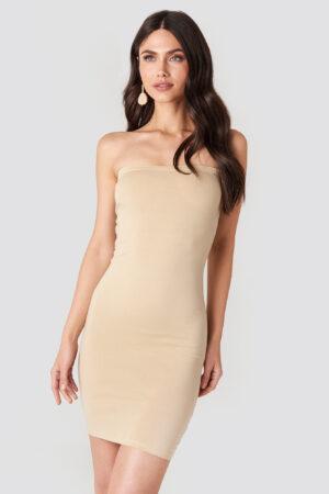 NA-KD Basic Basic Jersey Bandeau Dress - Nude