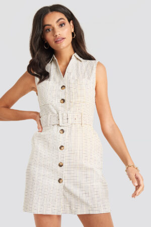 NA-KD Classic Belted Cargo Sleeveless Dress - White