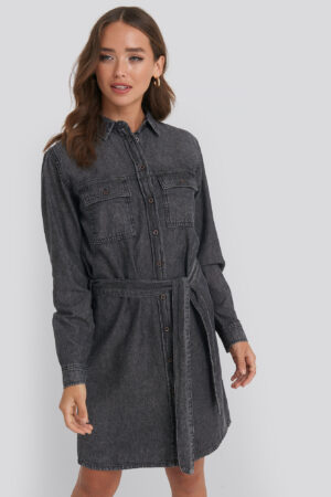 NA-KD Belted Denim Dress - Black