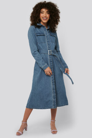 NA-KD Trend Belted Denim Shirt Dress - Blue