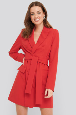 NA-KD Classic Belted Double Breasted Blazer Dress - Red