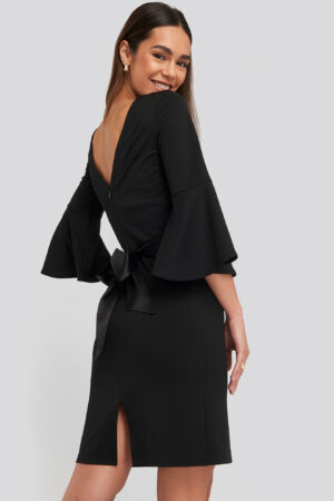 NA-KD Belted Flute Sleeve Bodycon Dress - Black