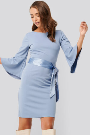 NA-KD Belted Flute Sleeve Bodycon Dress - Blue
