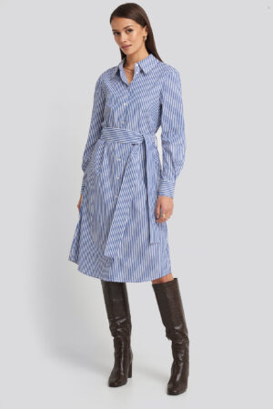 NA-KD Classic Belted Midi Shirt Dress - White