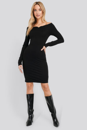 NA-KD Party Slip Shoulder Bodycon Dress - Black