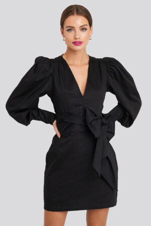 NA-KD Party Bow Detail Long Sleeve Mini Dress - Black