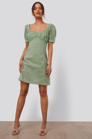 NA-KD Trend Miniklänning Med Puffärmar - Green