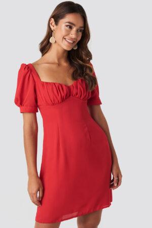 NA-KD Boho Bust Puff Sleeve Mini Dress - Red