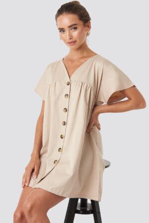 NA-KD Button Detail Loose Fit Mini Dress - Beige