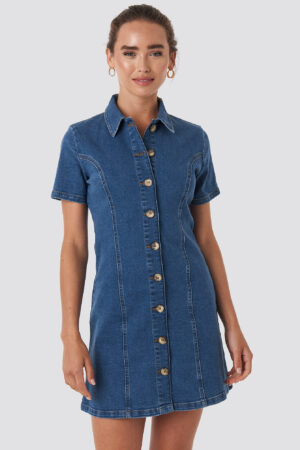 NA-KD Button Up Denim Mini Dress - Blue